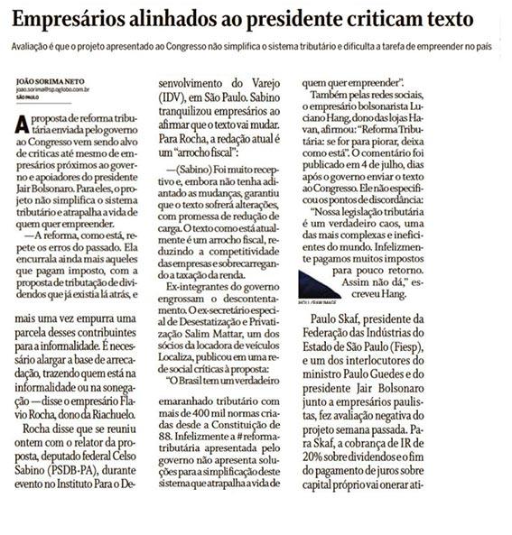 IR: Empresários alinhados ao presidente criticam texto