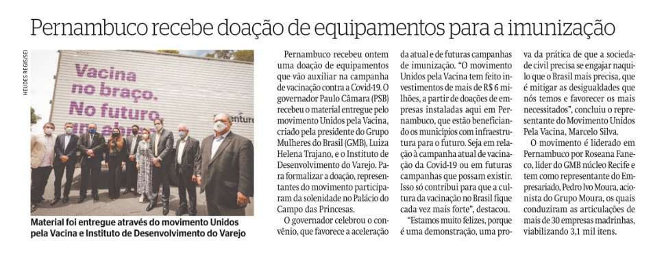 Pernambuco recebe doação de equipamentos para a imunização